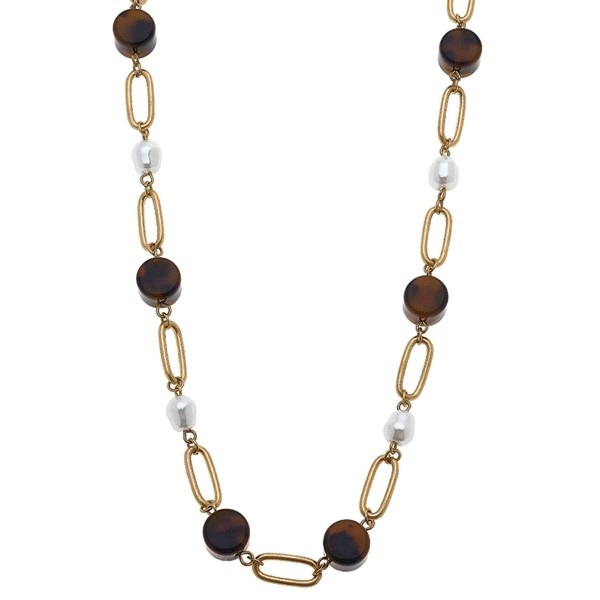 """Gold Chain Necklace Featuring Tortoise Shell Beaded Accents.  - Approximately 10"""" in Length - Toggle Bar Closure"""