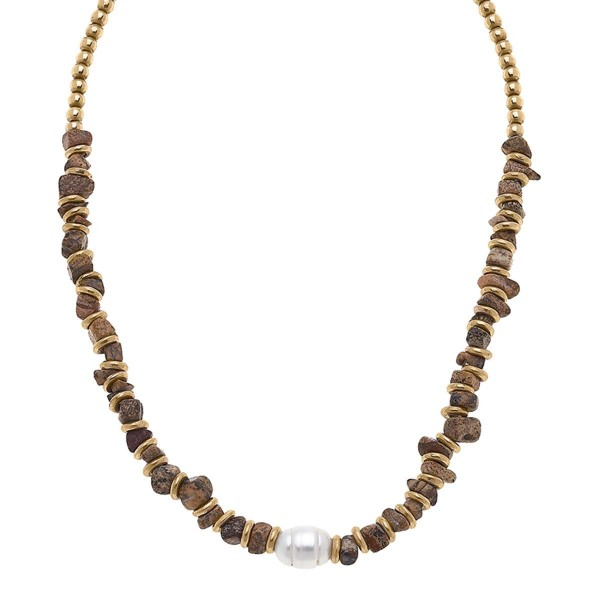 """Gold Beaded Necklace Featuring a Pearl Accent.  - Chain Approximately 15"""" in Length"""