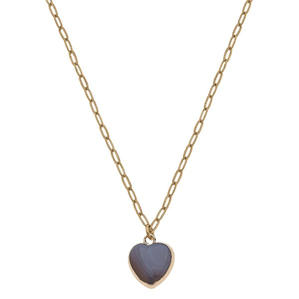 """Gold Chain Link Necklace Featuring a Natural Stone Heart Pendant.  - Approximately 8"""" in Length - Extender Approximately 3"""" in Length"""