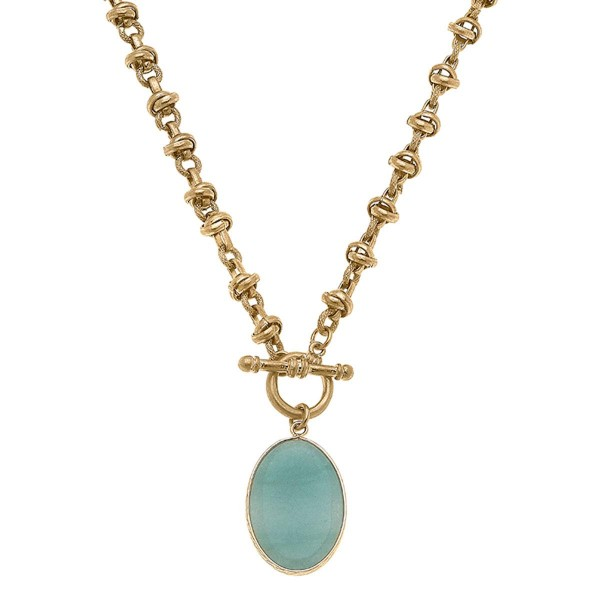"""Gold Chain Necklace Featuring a Natural Stone Pendant and Toggle Bar Closure.  - Approximately 8"""" in Length - Toggle Bar Closure"""