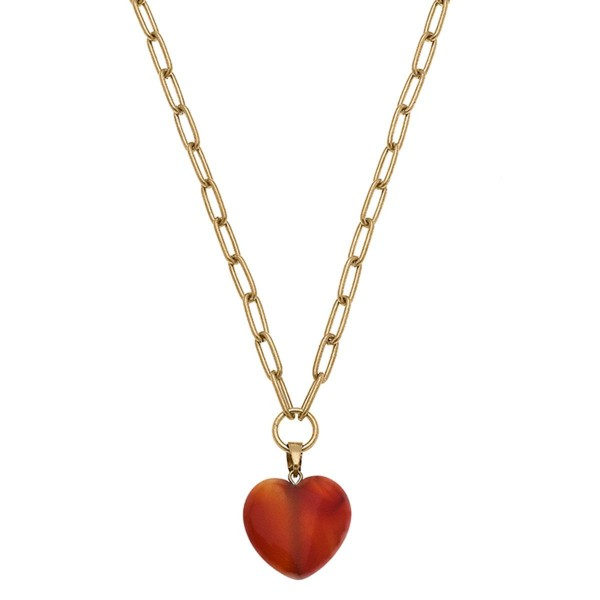 """Gold Chain Link Necklace Featuring a Natural Stone Heart Pendant.  - Approximately 10"""" in Length - Extender Approximately 3"""" in Length"""