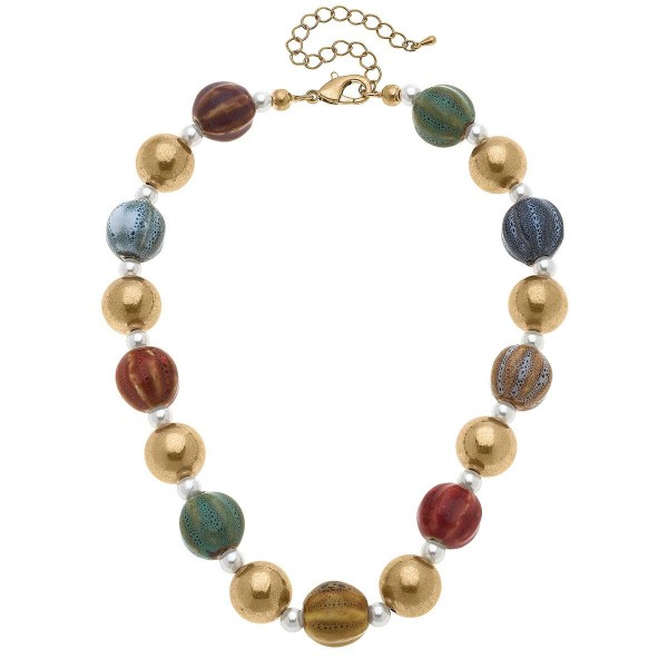 """Chunky Gold Beaded Necklace with Pearl Accents  -7.5"""" in length -2.25"""" extender"""