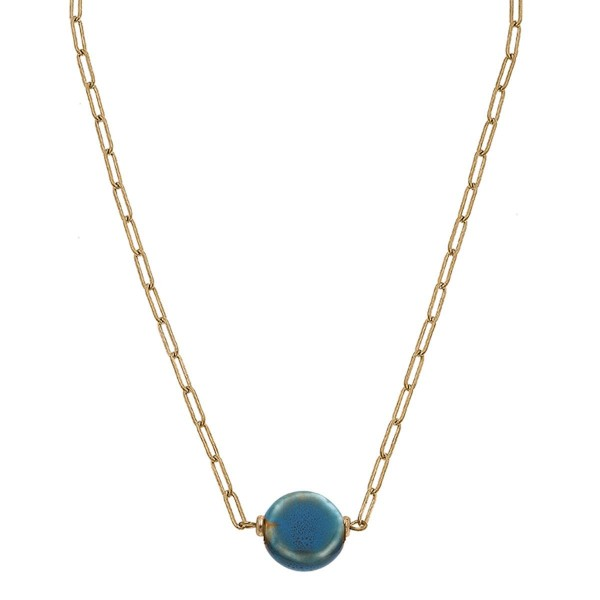"""Gold Chain Link Necklace Featuring a Stone Pendant.  - Approximately 7.5"""" in Length - Extender Approximately 3"""" in Length"""