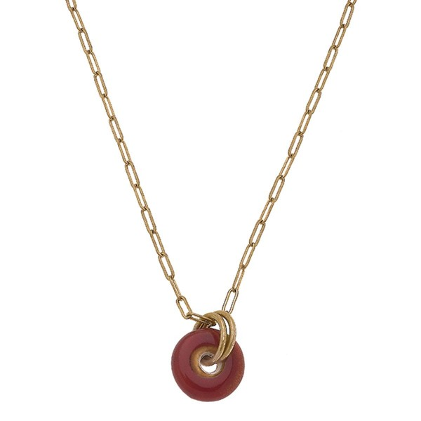 """Gold Chain Link Necklace Featuring a Natural Stone Pendant.  - Approximately 8"""" in Length - Extender Approximately 3"""" in Length"""
