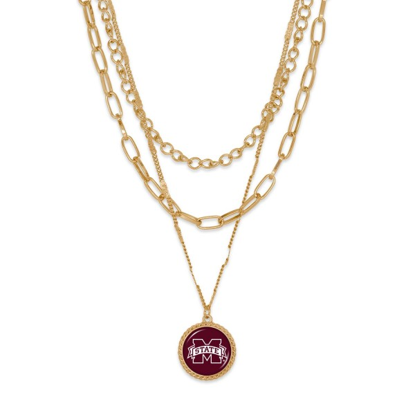 """Mississippi State Gold Chain Link Charm Bracelet.  - Pendant Approximately 1"""" in Diameter - Necklace Approximately 18.5"""" in Length - Extender Approximately 2.5"""" in Length"""
