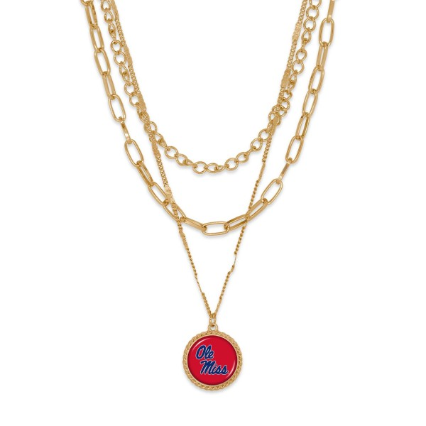 """Ole Miss Gold Chain Link Charm Bracelet.  - Pendant Approximately 1"""" in Diameter - Necklace Approximately 18.5"""" in Length - Extender Approximately 2.5"""" in Length"""