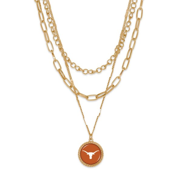 """Texas Gold Chain Link Charm Bracelet.  - Pendant Approximately 1"""" in Diameter - Necklace Approximately 18.5"""" in Length - Extender Approximately 2.5"""" in Length"""