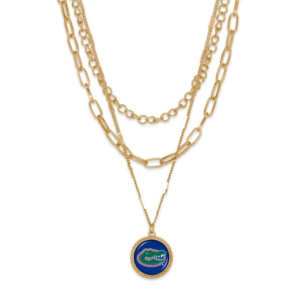 """Florida Gold Chain Link Charm Bracelet.  - Pendant Approximately 1"""" in Diameter - Necklace Approximately 18.5"""" in Length - Extender Approximately 2.5"""" in Length"""