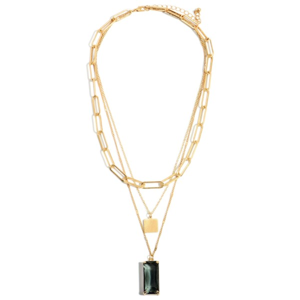 """Gold Layered Chain Link Necklace Featuring a Crystal Pendant.  - Approximately 9"""" in Length - Extender Approximately 3"""" in Length"""