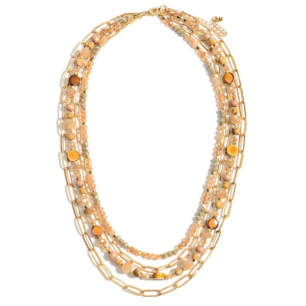 """Gold Chain Link and Glass Beaded Layered Necklace  - Approximately 16"""" - 22"""" Length"""