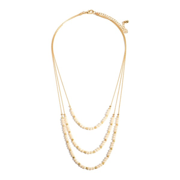 """Gold Layered Necklace Featuring Beaded Accents.   - Approximately 9"""" in Length - Extender Approximately 3"""" in Length"""