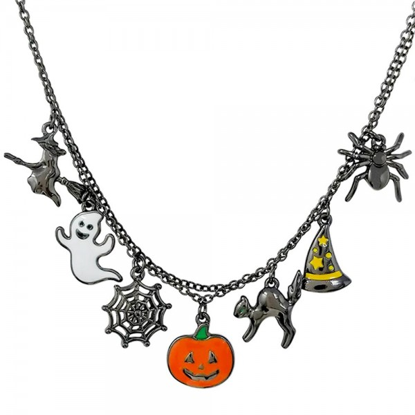 """Hematite Halloween Charm Necklace  - Approximately 18"""" Length - 2"""" Extender"""