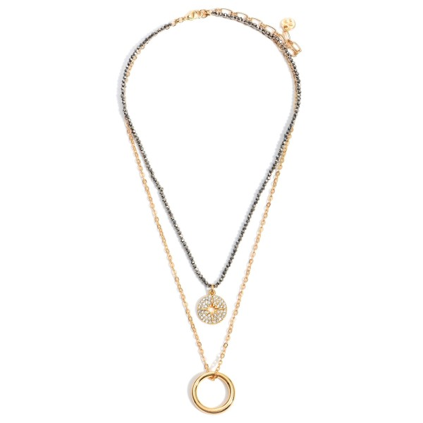 """Layered Beaded Necklaces Featuring a CZ Starburst Pendant.   - Approximately 9"""" in Length"""
