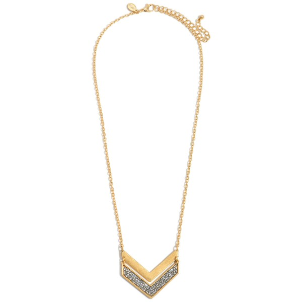 """Gold Metal Necklace Featuring a Chevron Pendant with Druzy Accents.   - Approximately 10"""" in Length - Extender Approximately 3"""" in Length"""