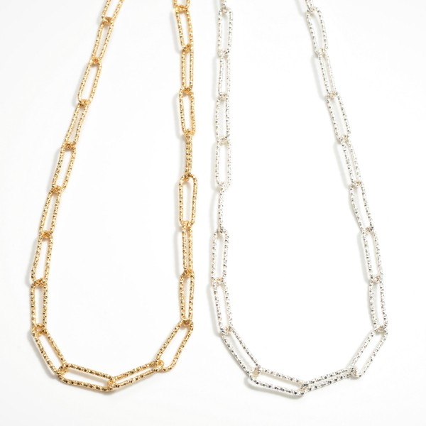 """Diamond Cut Long Chain Link Necklace  - Approximately 32"""" L"""
