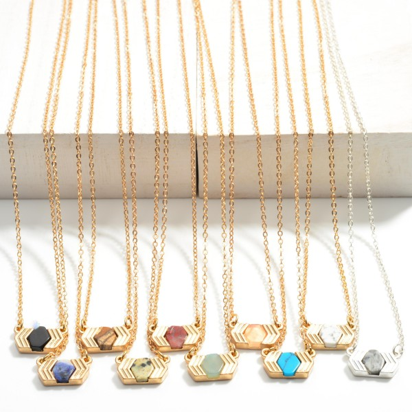 """Dainty Gold Chain Necklace Featuring Semi-Precious Pendant  - Approximately 16"""" Length - Extender Approximately 2"""""""