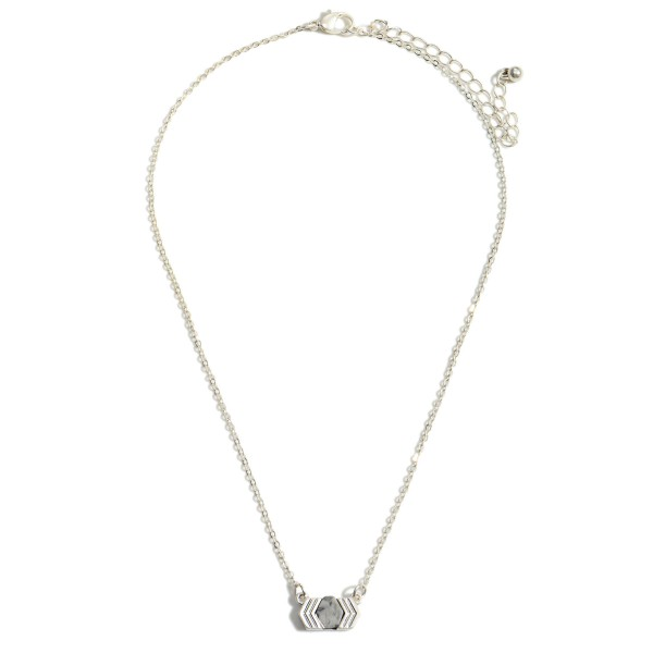 """Dainty Silver Chain Necklace Featuring Semi-Precious Pendant  - Approximately 16"""" Length - Extender Approximately 2"""""""