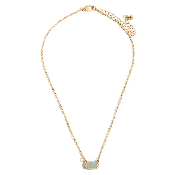 """Short Gold Chain Necklace Featuring a Semi Precious Pendant  - Chain Approximately 16"""" Length - Extender Approximately 3"""" in Length"""