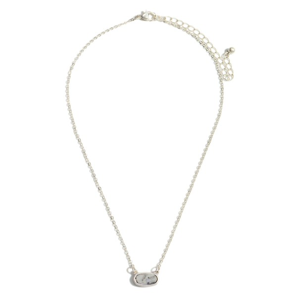 """Short Silver Chain Necklace Featuring a Semi Precious Pendant  - Chain Approximately 16"""" Length - Extender Approximately 3"""" in Length"""