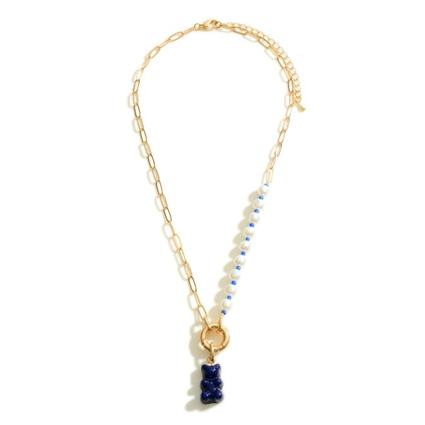"""Gold Chain Link Necklace With Pearl Accents and Candy Bear Charm  - Approximately 16"""" Length - 3"""" Extender"""