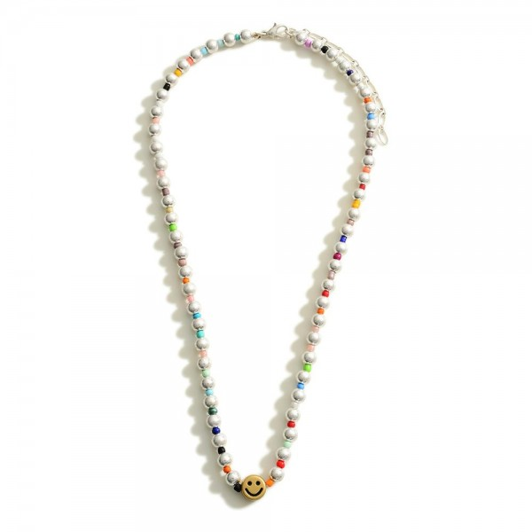 """Beaded Necklace Featuring Smiley Face and Multi-Colored Beaded Accents  - Approximately 18"""" Length - 2"""" Extender"""