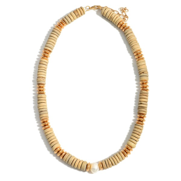 """Short Wood Beaded Necklace Featuring Gold and Pearl Accents.   - Approximately 18"""" in Length - Extender Approximately 3"""" in Length"""