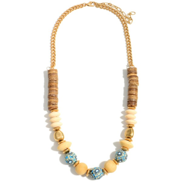 """Short Wood Beaded Necklace Featuring Gold and Floral Accents.   - Approximately 18"""" in Length - Extender Approximately 3"""" in Length"""