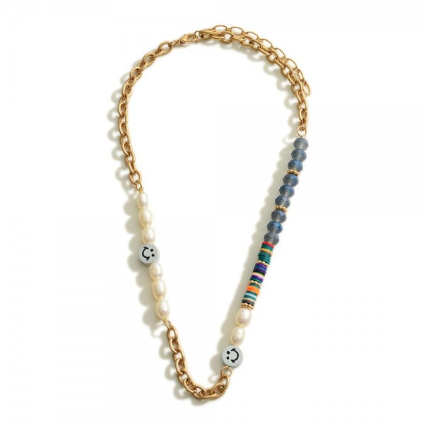 """Gold Chain and Heishi Bead Necklace With Pearl and Smiley Face Accents  - Approximately 18"""" Length - 2"""" Extender"""