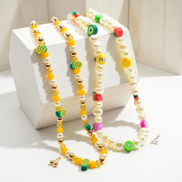 """Short Yellow Beaded Pineapple Necklace Featuring Pearl Accents and Gold Stud Earrings.   - Approximately 8"""" in Length - Extender Approximately 3"""" in Length - Comes with Gold Stud Earrings"""