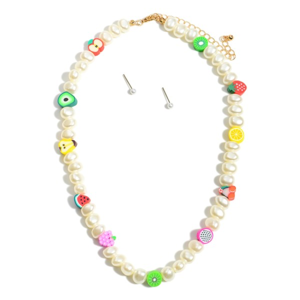 """Short Pearl Beaded Necklace Featuring Fruit Accents and Gold Stud Earrings.  - Approximately 7.5"""" in Length - Extender Approximately 3"""" in Length - Comes with Gold Stud Earrings"""
