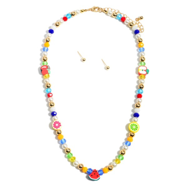 """Short Multicolor Beaded Fruit Necklace Featuring Pearl Accents and Matching Gold Stud Earrings.  - Approximately 8"""" in Length - Extender Approximately 3"""" in Length - Comes with Gold Stud Earrings"""