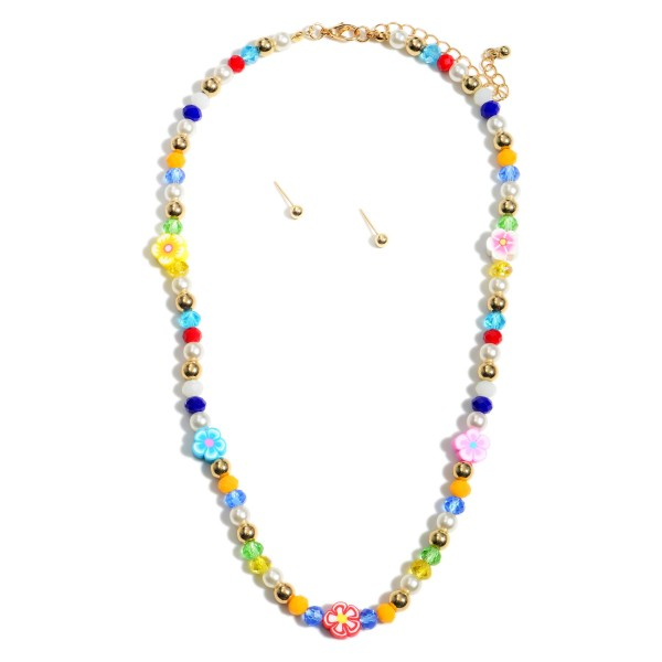 """Short Multicolor Beaded Necklace Flower Featuring Pearl Accents and Matching Gold Stud Earrings.  - Approximately 8"""" in Length - Extender Approximately 3"""" in Length - Comes with Gold Stud Earrings"""