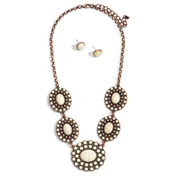 """Western Natural Stone Linked Pendants Necklace with Natural Stone Stud Earrings  - Approximately 18"""" Long - Extender Approximately 3"""" Long - Studs Approximately 0.5"""" Wide"""