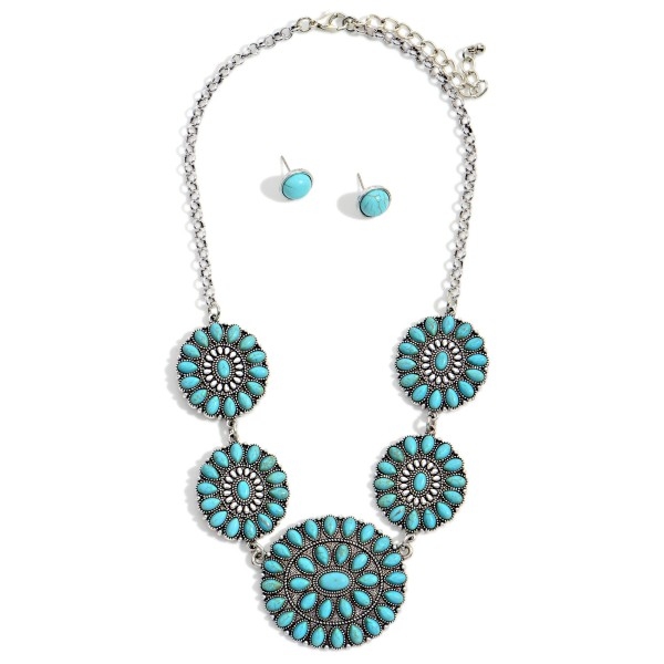 """Western Natural Stone Linked Pendants Necklace with Natural Stone Stud Earrings  - Approximately 16"""" Long - Extender Approximately 3"""" Long - Studs Approximately 0.5"""" Wide"""