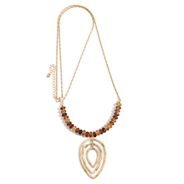 """Long Gold Tone Beaded Necklace Featuring Hammered Gold Tone Nesting Teardrops Pendant  - Approximately 36"""" Long - Extender 3"""" Long"""