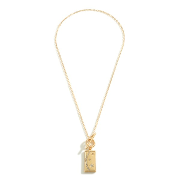 """Petite Chain Link Toggle Necklace Featuring Rhinestone Crescent Moon and Star Rectangle Pendant  - Approximately 16"""" Length"""