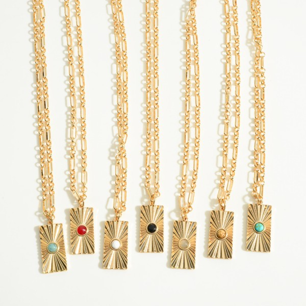 """Gold Chain Link Necklaces Featuring Rectangle Pendant With Semi Precious Stone  - Approximately 16' Length - 2"""" Extender"""