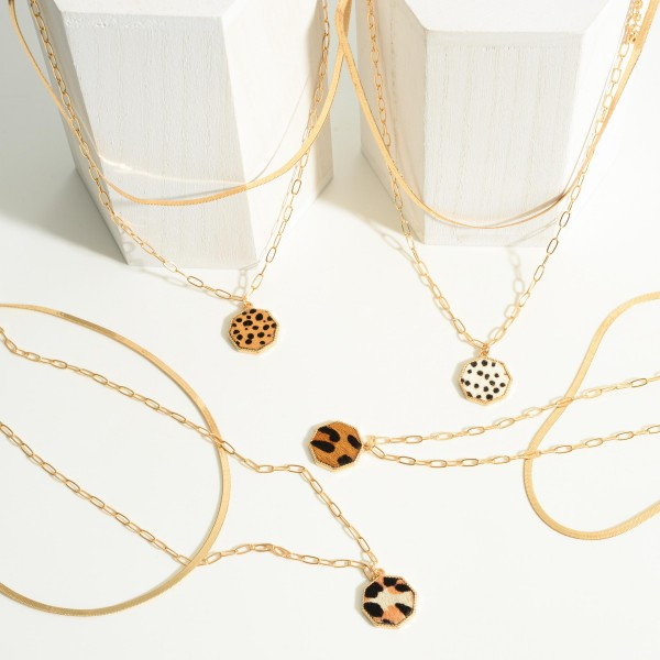 """Gold Tone Layered Necklace Featuring Genuine Leather Animal Print Pendant  - Approximately 14""""-16"""" Length - 2"""" Extender"""