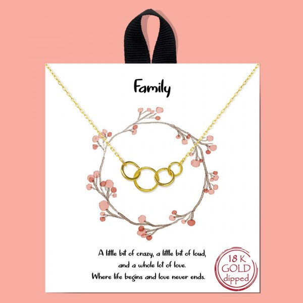 """Short Metal """"Family"""" Necklace.  - Approximately 18"""" Long - Each Necklace Comes on a Card that Says """"A little bit of crazy, a little bit of loud and a whole lot of love. Where life begins and love never ends."""" - 18K Gold Dipped"""