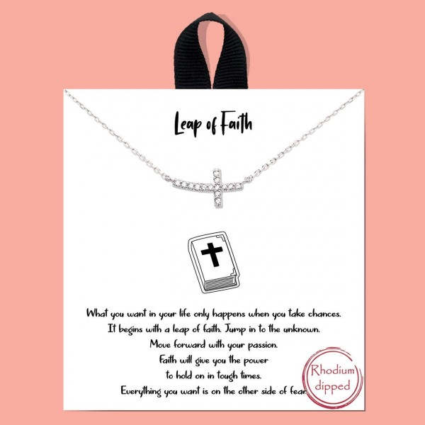 """Short Metal """"Leap of Faith"""" Necklace.  - Approximately 18"""" Long - Each Necklace Comes on a Card that Says """"What you want in your life only happens when you take chances. It beings with a leap of faith. Jump in to the unknow. Move forward with your passion. Faith will give you the power to hold on in tough times. Everything you want is on the other side of fear."""" - 18K Gold Dipped"""
