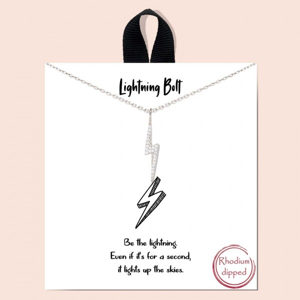 """Short Metal """"Lightening Bolt"""" Necklace.  - Approximately 18"""" Long - Each Necklace Comes on a Card that Says """"Be the lightening. Even if it's for a second, it lights up the skies."""" - 18K Gold Dipped"""