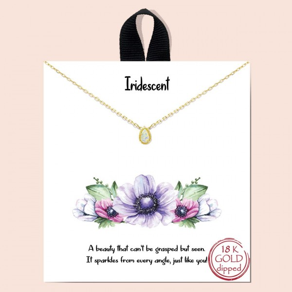"""Short Metal """"Iridescent"""" Necklace.  - Approximately 18"""" Long - Each Necklace Comes on a Card that Says """"A beauty that can't be grasped but seen. It sparkles from every angle, just like you!"""" - 18K Gold Dipped"""