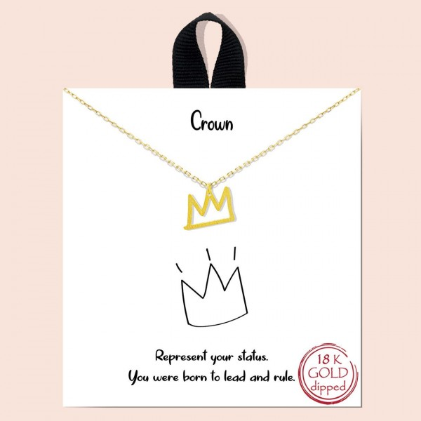 """Short Metal """"Crown"""" Necklace.  - Approximately 18"""" Long - Each Necklace Comes on a Card that Says """"Represent your status. You were born to lead and rule."""" - 18K Gold Dipped"""