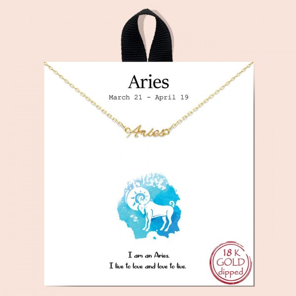 """Short Metal Zodiac Sign Necklace.  - Approximately 18"""" Long - """"I am an Aries. I live to love and love to live.""""  - 18K Gold Dipped"""