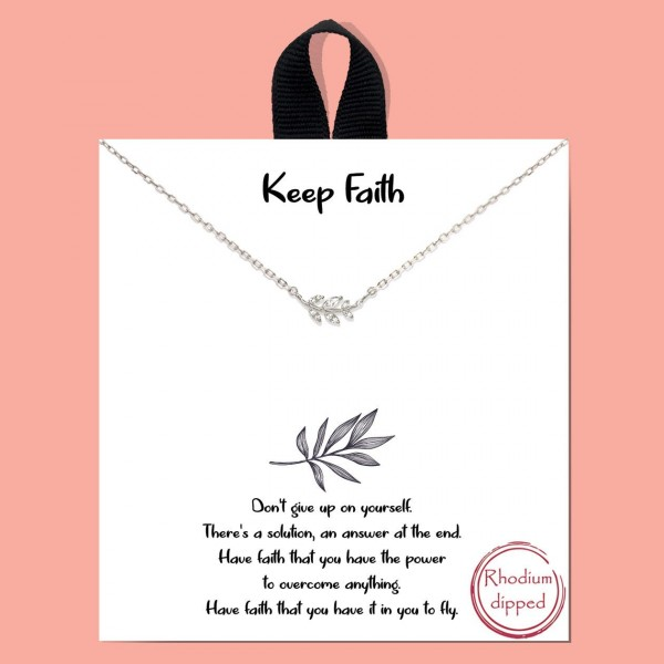 """Short Metal """"Keep Faith"""" Necklace.  - Approximately 18"""" Long - Each Necklace Comes on a Card that Says """"Don't give up on yourself. There's a solution, an answer at the end. Have faith that you have the power to overcome anything. Have faith that you have it in you to fly."""" - 18K Gold Dipped"""