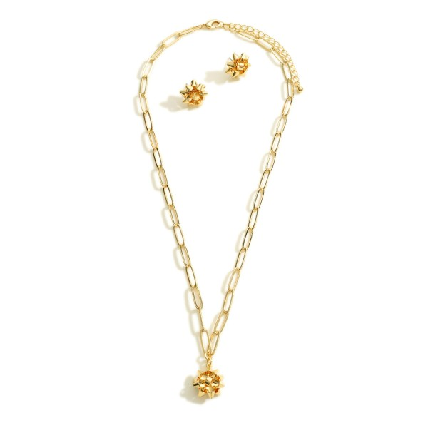 """Gold Tone Chain Link Necklace Featuring Bow Pendant  Includes Bow Stud Earrings  - Approximately 18"""" Long - Expander Approximately 2"""" Long - Studs Approximately 0.5"""" Wide"""