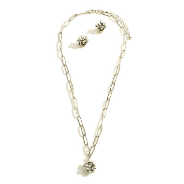 """Silver Tone Chain Link Necklace Featuring Bow Pendant  Includes Bow Stud Earrings  - Approximately 18"""" Long - Expander Approximately 2"""" Long - Studs Approximately 0.5"""" Wide"""