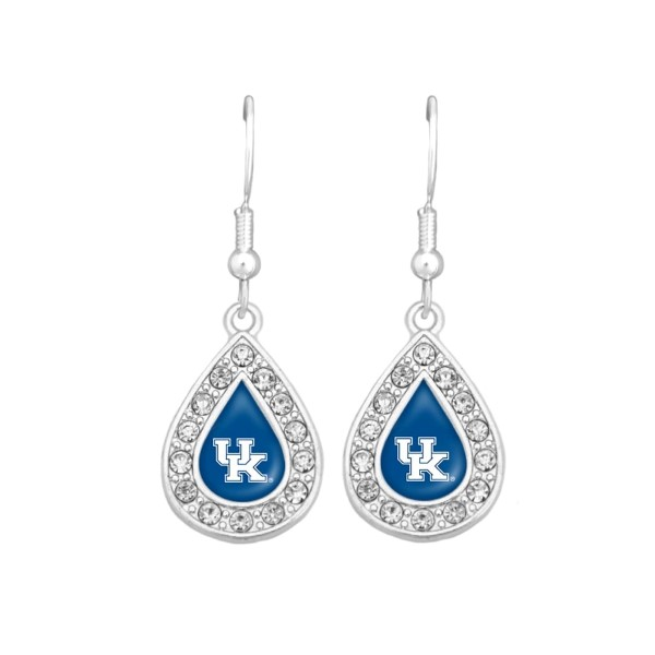 Silver tone hook earrings with a small teardrop design surrounded by crystal rhinestones featuring the officially licensed Kentucky logo.