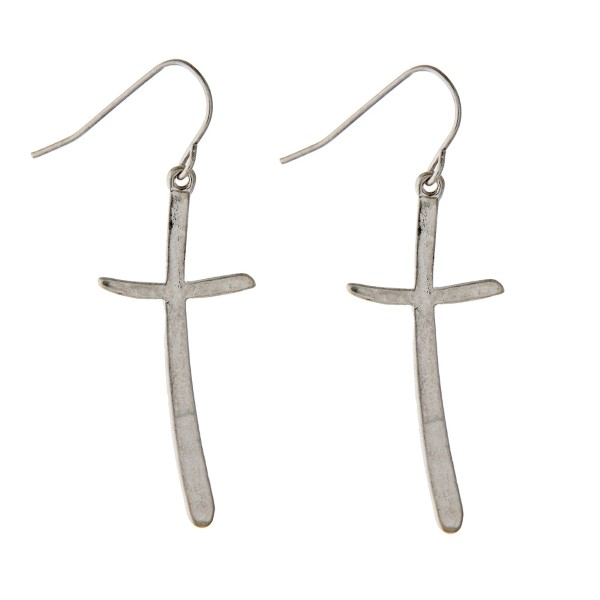 "Worn Silver Tone Cross Drop Earrings.  - Approximately 1.5"" L"