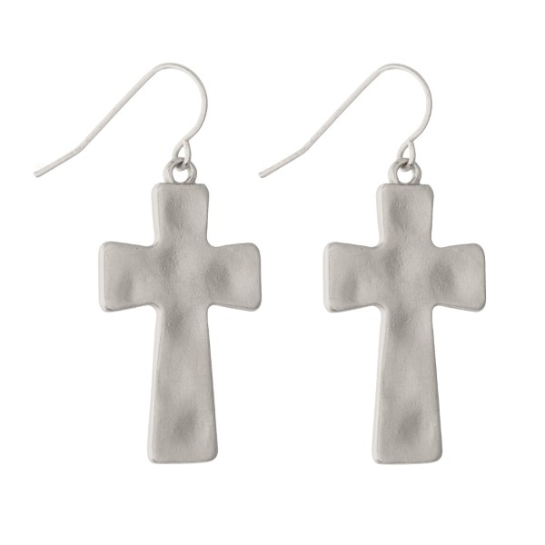 "Matte Silver Hammered Cross Drop Earrings.  -  Approximate 1.25"" L"